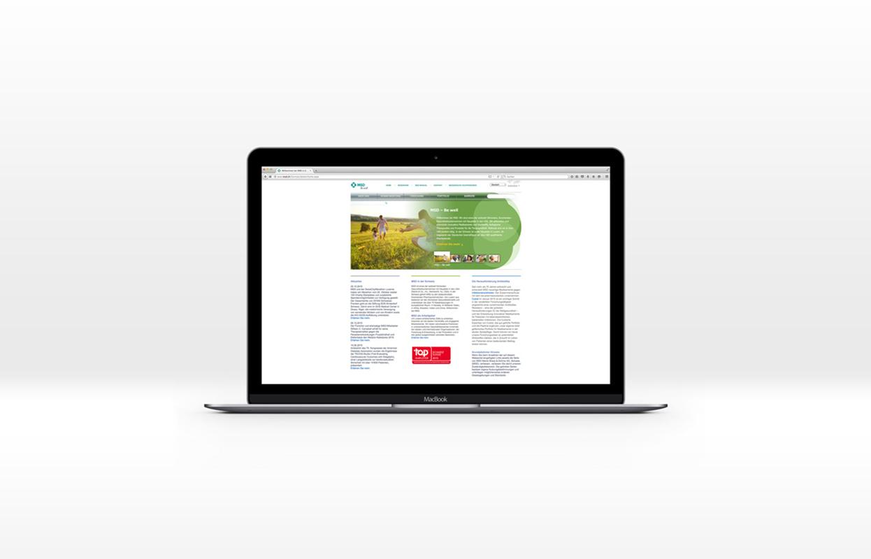 MSD.ch Website auf MacBook